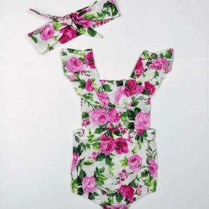 d04fcf2be806 One Pieces - Pink Floral Baby Girl Romper w  Matching Headband